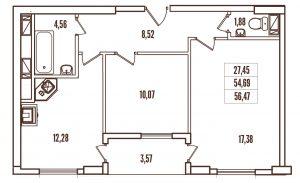 2-комнатная в ЖК Контиинент