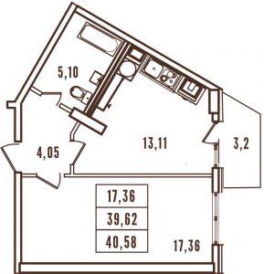 1 комнатная квартира в ЖК Континент