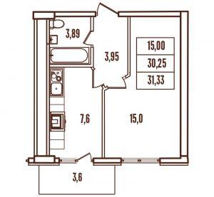 1-комнатная квартира в ЖК Континент
